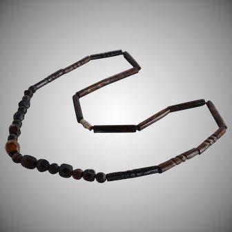 Vintage Hawaiian hand carved Black Coral Necklace