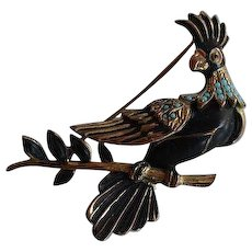 Antique gold plated brass faux turquoise Paradise Bird Brooch Pin