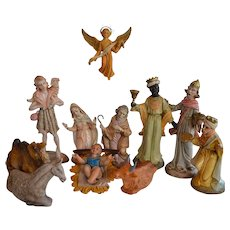 Vintage Italy composition Nativity Set 11 big figures