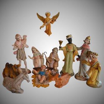 Vintage Italy composition Nativity Set 11 big figures