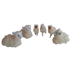 Vintage faux wool Sheep Lambs figurines 6 pcs set Dollhouse or Nativity