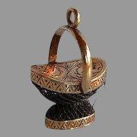 Antique Victorian 18 karat gold & woven hair Basket Mourning Charm or Pendant