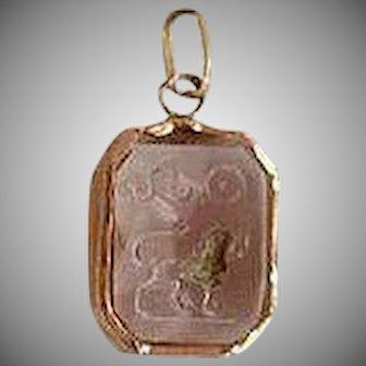 Antique Victorian 18 karat gold Alpha Omega Lion Pink Crystal Pendant or Charm