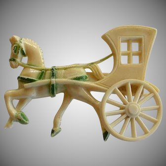 Art Deco Carriage with Horse celluloid Brooch Pin