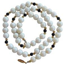 Huge vintage white Angel Skin Coral & Onyx beaded Necklace