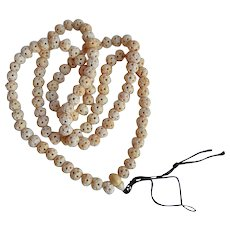 Antique Chinese Tibetan Bovine Bone Mala Prayer Beads Necklace
