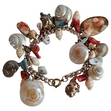 Vintage handmade Mother of Pearl Shell & Coral Charm Bracelet