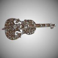 Vintage dimensional pave rhinestone Violin Brooch Pin