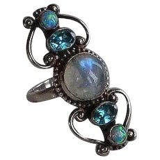 Handmade Sterling Silver 925 on copper Moonstone Blue Topaz Opal Statement Ring Size 6.5-7