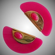 Vintage Fuchsia Pink Plastic & Gold Metal Statement abstract Earrings