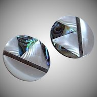 Vintage handcrafted Abalone and Mother of Pearl Inlay Marquetry Earrings
