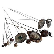 Antique Victorian Set 15 pcs long Hat Pins with Antique Porcelain Holder