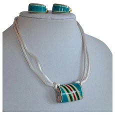 Vintage Lea Stein Set Layered Multicolor Lucite Plastic Earrings & Necklace