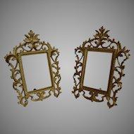 Set 2 pcs Antique Victorian Ormolu Solid Brass Photo Frame