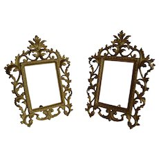 Set 2 pcs Antique Victorian Ormolu Solid Brass Photo Frame