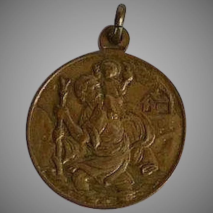 4dd4852dab9 Vintage signed Brass Medal with St. Christopher, Vatican and Pope Paul :  Purple Lotus Vintage Jewelry | Ruby Lane