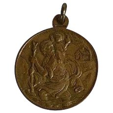 Vintage signed Brass Medal with St. Christopher, Vatican and Pope Paul VI