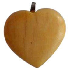 Antique hand carved Puffy Heart Pendant