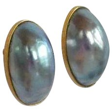 Huge Natural Blue Mabe Pearl 12 K gold Earrings