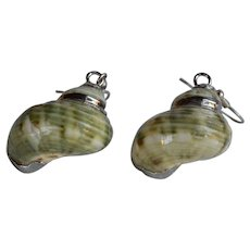 Silver plated natural Green Shell dangle pierced Earrings