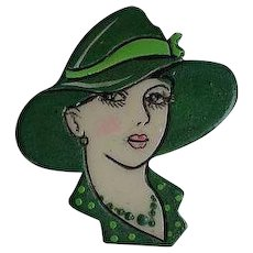 Vintage Lady portrait with hat plastic celluloid Pin Brooch
