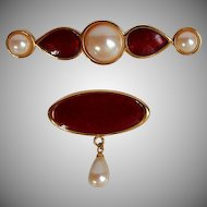 NWOT Monet Set Red Enamel Gold tone faux Pearl Brooch Pin