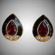 NWOT Monet Red Crystal Black Enamel Encrusted Rhinestones Earrings