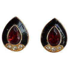 NWOT Monet Red Crystal Black Enamel Encrusted Rhinestones Earrings
