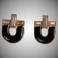 NWOT Monet Black Enamel Encrusted Rhinestones Earrings