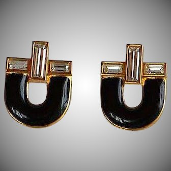 NWOT Monet Black Enamel Encrusted Rhinestones Earrings
