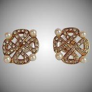 NWOT Monet gold tone metal encrusted rhinestone faux pearl Maltese cross Earnings