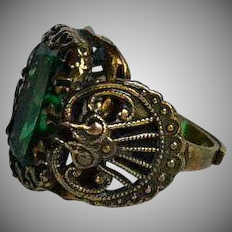 Art Deco Green Emerald Paste & Brass Adjustable Ring