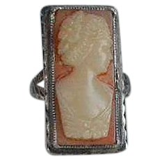 Child or Doll size Antique Victorian France handmade silver ring with molded plastic Cameo