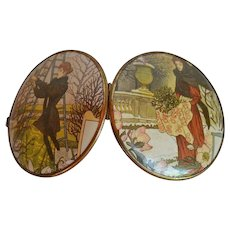 Big Art Nouveau Compact Mirror Serigraphy Double Sided with ladies in garden scenes