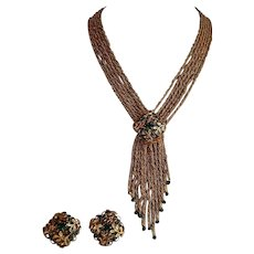 Miriam Haskell demi set gold tone metal green paste multi strand Necklace with Tassels & Earrings