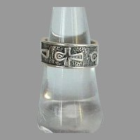 Vintage handmade Egyptian Ankh Cross Sterling Silver 925 band Ring