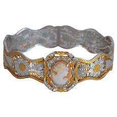 Antique Victorian Platinum & Gold & Genuine Shell Cameo Bracelet