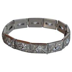 Art Deco Platinum & Diamond panel link Bracelet with encrusted Paste