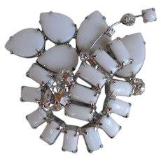 Big Rare Vintage designer White Milk Glass and Rhinestones Layered Brooch Pin