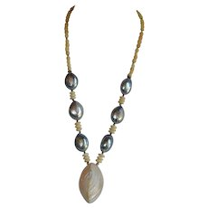 Unique Vintage handmade Blue Mabe Pearl & Mother of Pearl Necklace