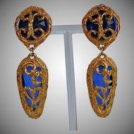 Vintage Italy blue plastic gold metal dangle statement Earrings on original card
