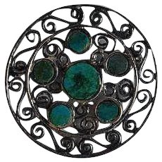 Delicate Vintage sterling silver 925 & turquoise inlay circular filigree pendant & brooch