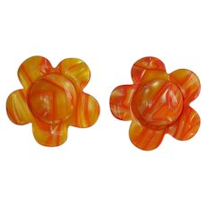 Huge vintage Lea Stein molded layered orange & yellow plastic Flower Statement Earrings