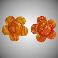 Huge vintage molded plastic lucite Orange Yellow Flower Statement Earrings