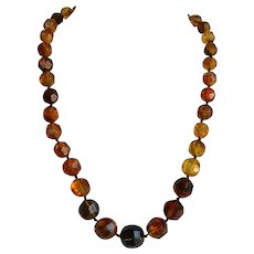 32 gr Art Deco hand faceted cut & knotted Genuine Baltic Amber Graduated Necklace with inclusions