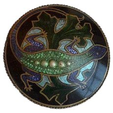 Art Nouveau Lizard Gecko Enamel Brooch Pin