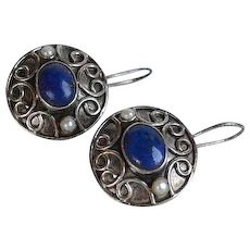 Vintage handmade Lapis cabochon Real Seed Pearl Sterling Silver 925 Earrings