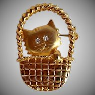 Cute Cat in Basket Brooch pin