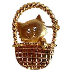 Cute Cat in Basket Brooch pin