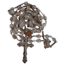 Antique France Sterling 925 & hand cut Rock Crystal Sacred Heart Catholic Rosary with authenticity tag